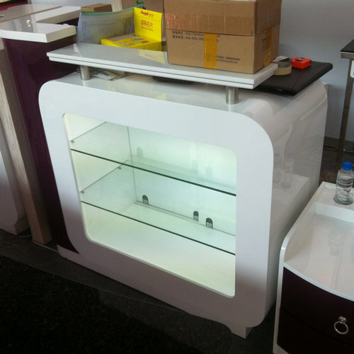 fashion white beauty salon checkout cabinet with display showcase / manicure shop reception desk
