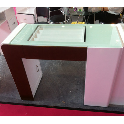 glass top nail technician tables / nail salon furniture / french ...